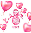 happy womens day 8 march ribbon flowers vector image