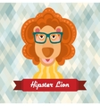 Hipster lion poster vector image