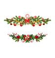 holiday pine decor set vector image