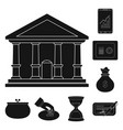 isolated object of bank and money icon set of vector image