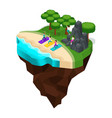 isometrics rest on the beach the banks of river vector image vector image