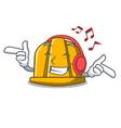 listening music construction helmet mascot cartoon vector image