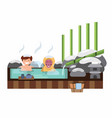 man and monkey soaking in traditional hot spring vector image vector image