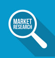 market research word magnifying glass vector image
