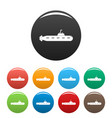military submarine icons set color vector image vector image