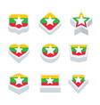 myanmar flags icons and button set nine styles vector image