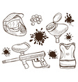 Paintball equipment doodle style vector image