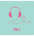 Pink headphones and cord in shape of heart vector image vector image