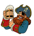 pirate funny character wooden beer mug vector image vector image