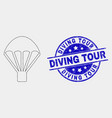 pixel parachute icon and distress diving vector image vector image
