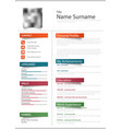 professional resume cv with color stickers vector image vector image
