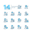 professions - set line design style icons vector image vector image