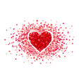 purple confetti heart in frame little pink vector image