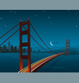 san francisco and golden gate bridge night scene vector image