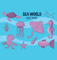 sea world animal set vector image vector image