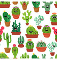 seamless pattern with cute kawaii cactus and vector image vector image