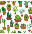seamless pattern with cute kawaii cactus vector image
