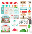 set shop facade and exterior elements vector image vector image