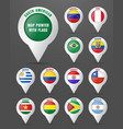 set the pointer to the map with the flag of south vector image vector image