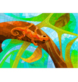 stained glass with a lizard in the forest vector image vector image