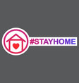 stay home hashtag staying at home during a vector image