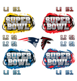 SuperBowl Party Text and Team Icons vector image vector image