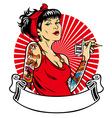 tattoo girl with blank banner for text space vector image vector image