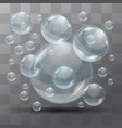 transparent water bubbles on a black background vector image
