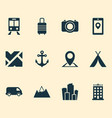traveling icons set with hotel mountains city vector image vector image