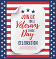 Veterans Day party celebration invitation poster vector image vector image