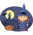 Young witch with pumpkin at Halloween night vector image vector image