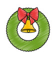 christmas crown with bell decorative vector image