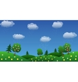 rain sky background with green grass and flowers vector image