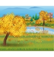 Autumn nature landscape with forest and lake vector image