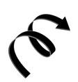 black flat arrow swirl icon vector image
