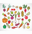 colored doodle fruits and vegetables isolated on vector image