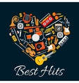 Music emblem Musical instruments in heart shape vector image