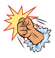 a fist smashes through wall vector image