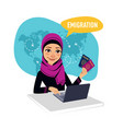 arab woman draws up documents for emigration vector image vector image