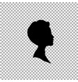 black profile silhouette of boy or man head face vector image vector image