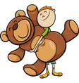 boy with big teddy cartoon vector image vector image
