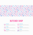 butcher shop concept with thin line icons vector image vector image