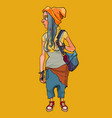 cartoon girl with a backpack in informal untidy vector image vector image