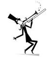 cartoon long mustache trumpeter vector image vector image