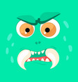 cartoon monster face halloween green angry vector image vector image