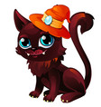 cat in orange hat with moonstone mystical animal vector image vector image