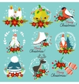 Christmas Hand Drawn Emblems vector image vector image