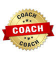 coach 3d gold badge with red ribbon vector image vector image