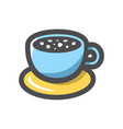 coffee blue cup icon cartoon vector image