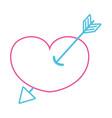 color line arrow design inside heart love icon vector image vector image